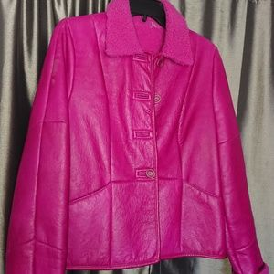 Audrey Talbott leather jacket womens M shearling